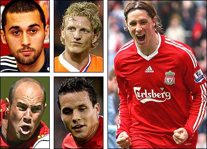 Clockwise from top left: Alvaro Arbeloa, Dirk Kuyt, Fernando Torres, Phillip Degen, Pepe Reina