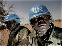 Soldados de la fuerza de paz de Naciones Unidas en Darfur, AFP