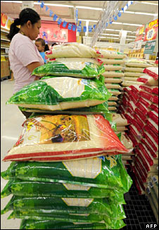 Rice sacks in Thai shop. Image: AFP/Getty