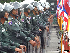 Thai riot police during an anti-government protest in Bangkok on 1 June 2008