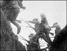 British troops jump a trench (Pic: National Army Museum)