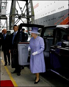 The Queen arrives at Southampton docks