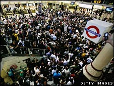 Revellers at Liverpool Street station
