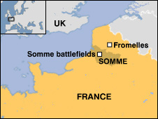 Map showing Fromelles location