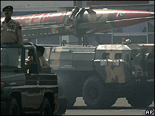 A Pakistani-made Shaheen II missile, capable of carrying nuclear war heads