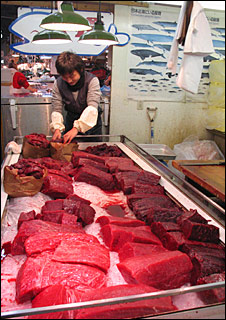 Whalemeat on market stall. Image: BBC