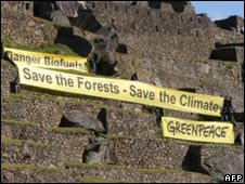 A banner displayed by Greenpeace activists is seen at the ruins of the Machu Picchu as the fifth summit of heads of state and government of Latin America, Caribbean and the European Union in Lima in May 2008.
