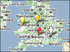 Map of UK showing pins