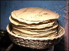 A basket of tortillas