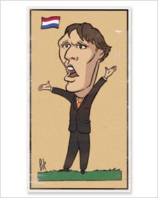 A cartoon of Marco van Basten