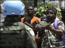Protest against the soaring cost of food in Haiti (April 2008)