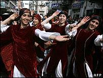 Palestinian folklore dancers in Ramallah