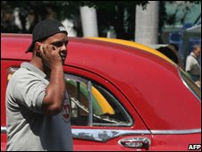 Man talks on mobile phone in Cuba