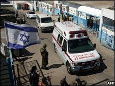 Ambulance carrying remains from Israel-Lebanon border crossing