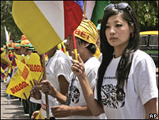 Tibetan students living in India hold a rally on 28 May 2008