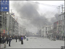 Smoke in Lhasa after Tibetan riots on 14 March 2008
