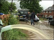 Flooding in Three Mile Cross in Reading on Tuesday