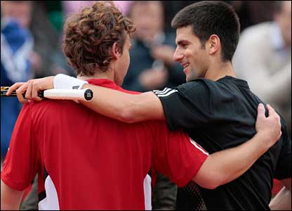 And despite some fine play from youngster Gulbis, Djokovic goes through in straight sets in just over three hours