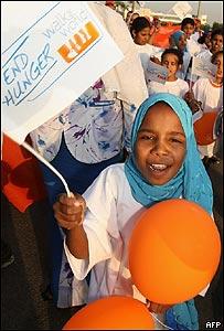 """Participantes en la """"Marcha contra el hambre"""" en El Cairo (01/06/08)"""
