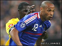 Thierry Henry in action against Colombia at the Stade de France.
