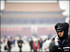 A policeman on patrol in Tiananmen Square on 3 June 2008