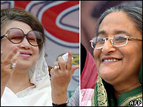 Khaleda Zia (left) and Sheikh Hasina