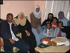 The Abdulwahab family. Aza Hedar is on the right of the photo wearing a blue scarf.