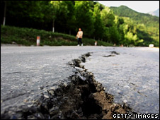 Crack in road after earthquake in Sichuan (Getty)