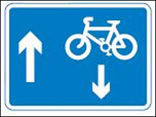 Two-way cycling sign