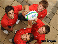 Wales Under-20 stars (clockwise from top left) Josh Turnball, Jonathan Davies, Dan Biggar and Daniel Evans prepare for the IRB Junior World Championship