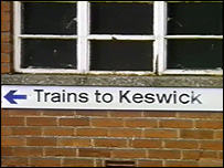 Sign directing people to trains, image courtesy of  Iceni Enterprises Ltd., Carlisle