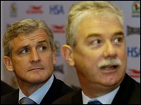 Blackburn Chairman John Williams with ex-manager Mark Hughes