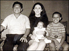 Photo showing Barack Obama (far right) with his sister, mother and step-father, in the 1960s