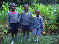 The Mbiru children in their vegetable garden