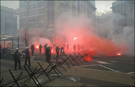 Riot police in Brussels
