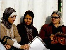 Fulbright scholars Hadeel Abu Kawik, Doa Abu Amsha and Nadel Telbani