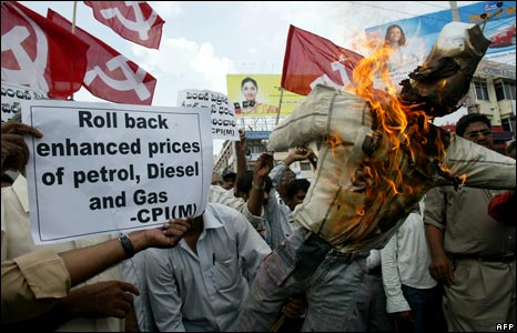 A protest in Hyderabad against the rise in oil prices on 4 June 2008
