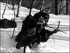 Undated image of an Ainu man hunting (Image: the Ainu Museum)