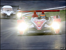 Audi R10 diesel and Peugeot 908 HDi-FAP compete on June 1, 2008 in Le Mans