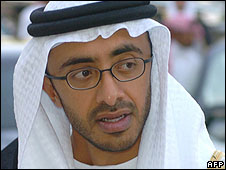 The foreign minister of the UAE, Sheikh Abdullah bin Zayed al-Nahayan