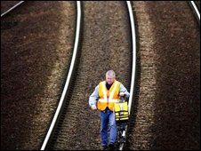 A worker on a railway line