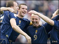 Scotland celebrate a goal at Hampden Park