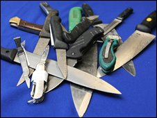Knives seized by the police