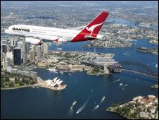 A Qantas plane over Sydney
