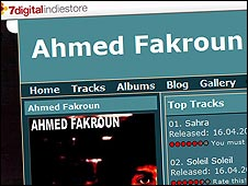 Screen grab from Ahmed Fakroun's site at 7digital's indiestore