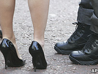 Feet in  high heels and boots