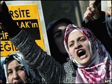 A Turkish woman demands the right to wear a headscarf