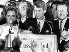 Bobby Kennedy speaks at the Ambassador Hotel, Los Angeles
