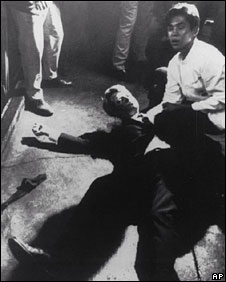 Robert Kennedy lies on the ground awaiting medical treatment after he was shot, 5 June