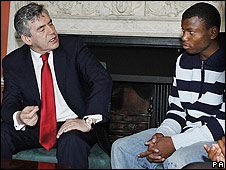 Gordon Brown and a young person